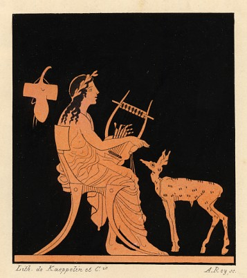 Playing lyre for a deer